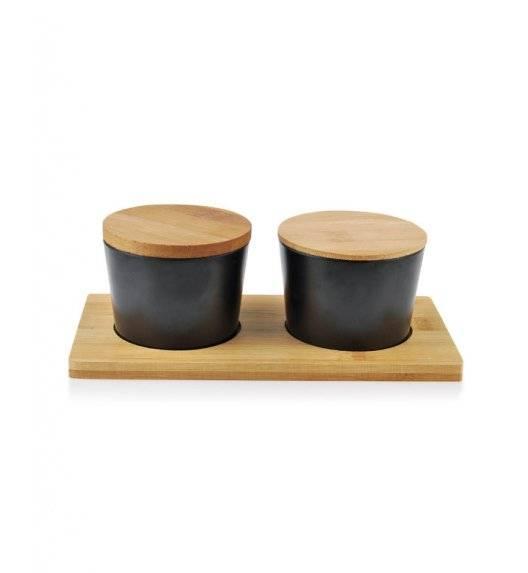 MONDEX BAMBOO Komplet 2 pojemników na desce 200 ml / czarny / drewno bambusowe