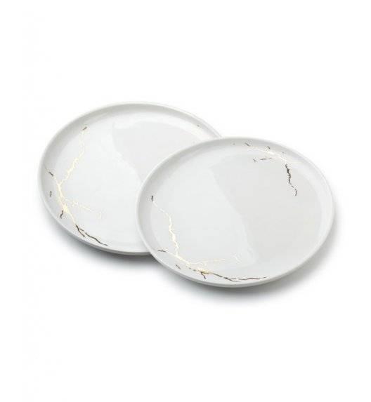 ODETTE GOLD Komplet 2 talerzy obiadowych 26 cm / białe / porcelana