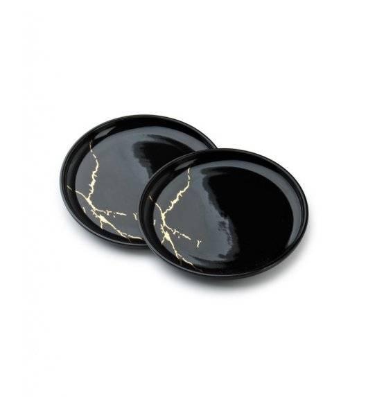 ODETTE GOLD Komplet 2 talerzy deserowych 19 cm / czarne / porcelana