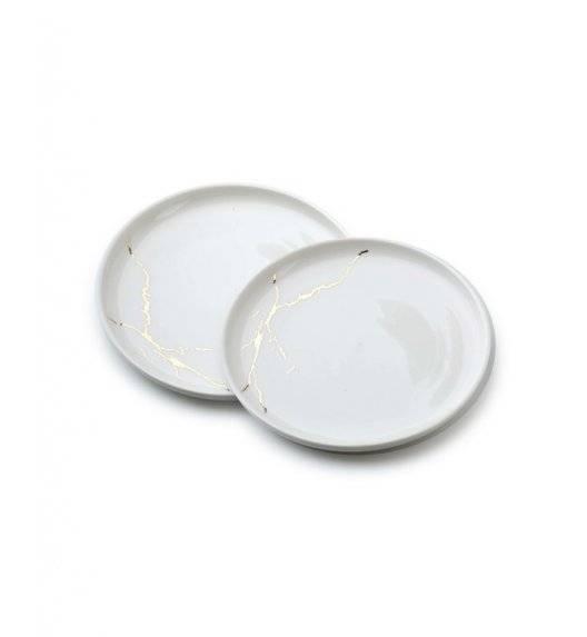 ODETTE GOLD Komplet 2 talerzy deserowych 19 cm / białe / porcelana