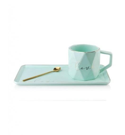 COLETTE Filiżanka z prostokątnym spodkiem 260 ml / turkusowa / porcelana