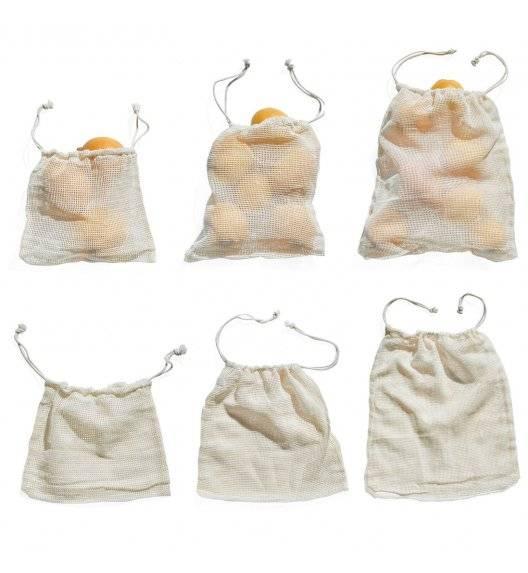 TADAR NO WASTE Woreczki bawełniane na zakupy 6 szt. / różne rozmiary ECO