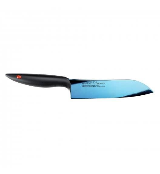KASUMI TITANIUM Japoński nóż santoku 18 cm / stal wysokowęglowa / niebieski