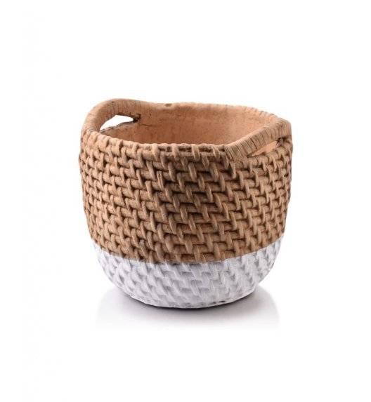 MONDEX ROSITA Doniczka ceramiczna 15 x 13 cm / kosz / beżowa