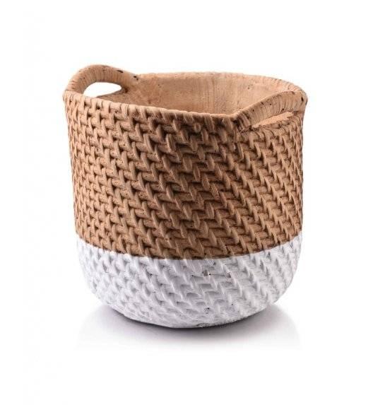 MONDEX ROSITA Doniczka ceramiczna 19,5 x 18 cm / kosz / beżowa