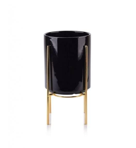 MONDEX NEVA Doniczka na nóżkach 12,8 x 15,5 cm / czarna / ceramika