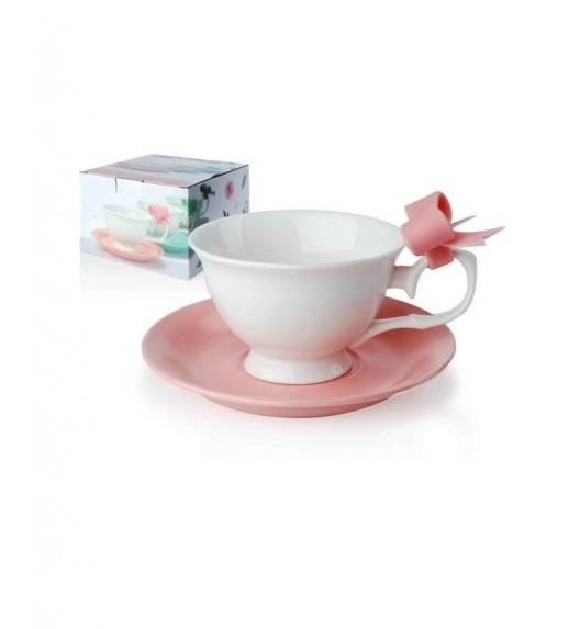 MOINDEX Komplet 2 filiżanek ze spodkiem 210 ml / porcelana / różowy