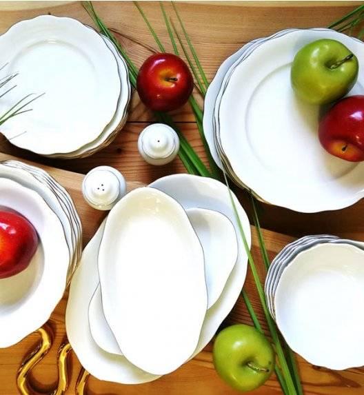 KRISTOFF ALASKA GOLD Serwis obiadowy 53 el / 12 osób / porcelana ivory