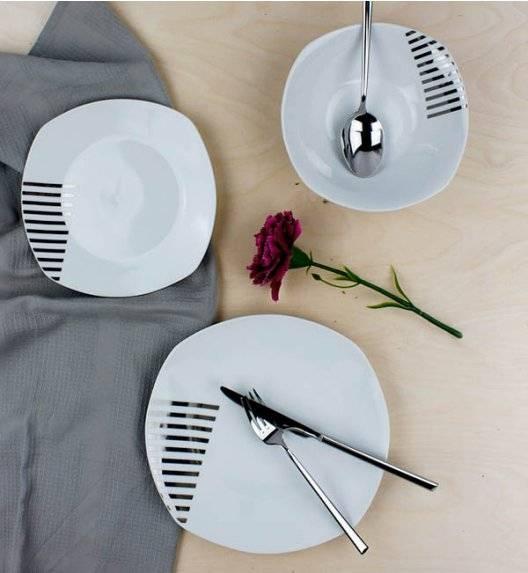 AFFEKDESIGN SREBRNE PASY Serwis obiadowy 18 elementów / 6 osób / porcelana