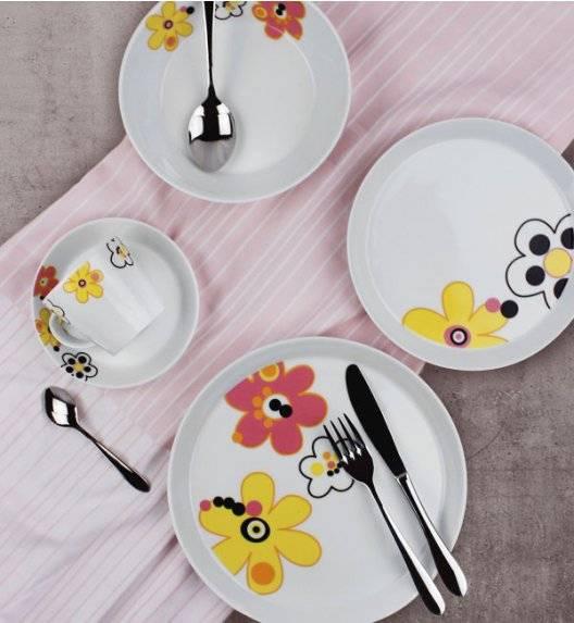 KAROLINA TRENDY FLOWERS Serwis obiadowo - kawowy 60 elementów dla 12 osób / porcelana