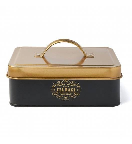 KonigHOFFER MOLISE Pojemnik na herbatę / czarny / 6 przegródek / złote ornamenty / stal nierdzewna