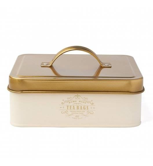 KonigHOFFER MOLISE Pojemnik na herbatę / kremowy / 6 przegródek / złote ornamenty / stal nierdzewna