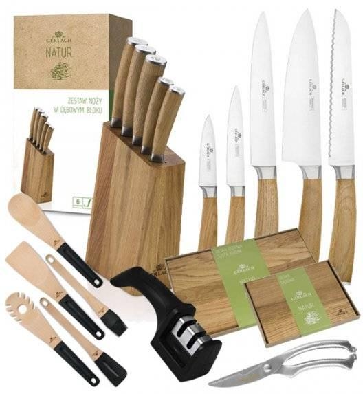 GERLACH NATUR Komplet 5 noży w bloku + akcesoria Gerlach + nożyce do drobiu KH