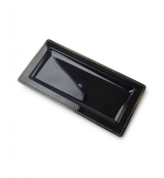 MONDEX BLANCHE COLOURS Podstawka pod świece 36 x 12 cm / czarna ze złotą obwódką / tworzywo sztuczne