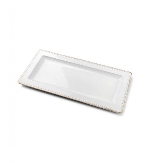 MONDEX BLANCHE COLOURS Podstawka pod świece 36 x 12 cm / biała ze złotą obwódką / tworzywo sztuczne