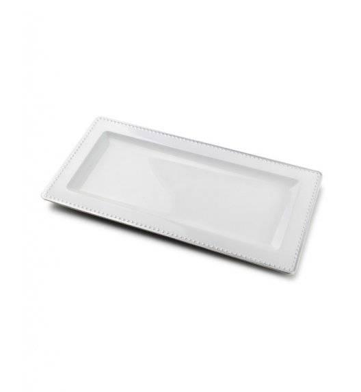 MONDEX BLANCHE COLOURS Podstawka pod świece 36 x 12 cm / biała ze srebrną obwódką / tworzywo sztuczne