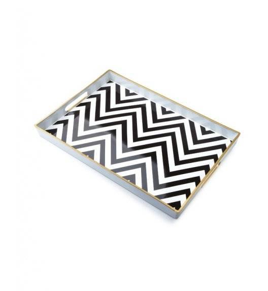 MONDEX BLANCHE COLOURS Taca dekoracyjna 40 x 25,6 cm / czarno - białe pasy / tworzywo sztuczne