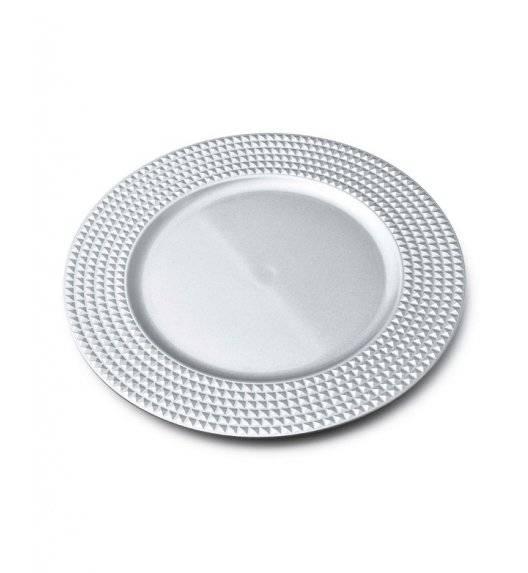 MONDEX BLANCHE SILVER Podtalerz dekoracyjny 33 cm / srebrny + żłobienia / tworzywo sztuczne