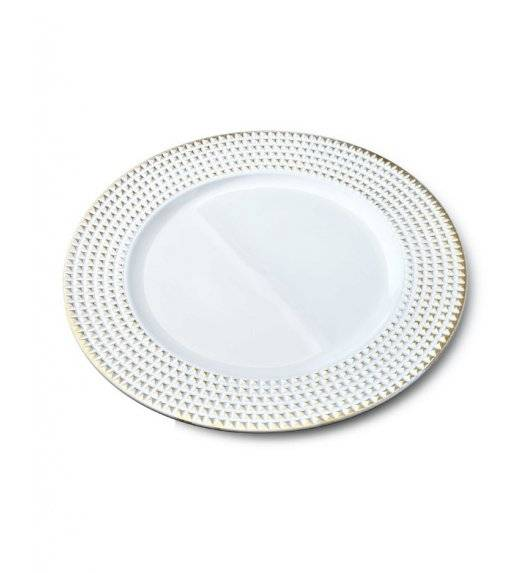 MONDEX BLANCHE GOLD Podtalerz dekoracyjny 33 cm / biały + złote żłobienia / tworzywo sztuczne