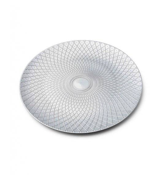 MONDEX BLANCHE SILVER Podtalerz dekoracyjny 33 cm / srebrny + żłobienie / tworzywo sztuczne