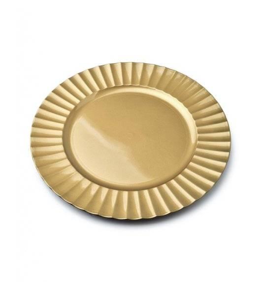 MONDEX BLANCHE GOLD Podtalerz dekoracyjny 33 cm / złoty + żłobienie przy krawędzi / tworzywo sztuczne