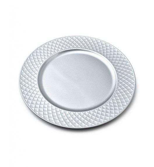 MONDEX BLANCHE SILVER Podtalerz dekoracyjny 33 cm / srebrny + delikatne żłobienia / tworzywo sztuczne