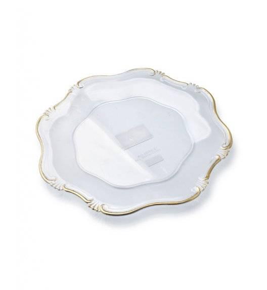 MONDEX BLANCHE GOLD Podtalerz dekoracyjny 35 cm / transparentny ze złotą obwódką / tworzywo sztuczne