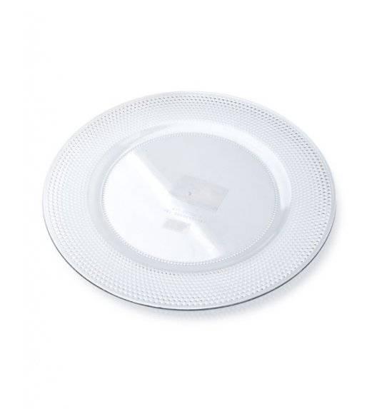MONDEX BLANCHE CLEAR Podtalerz dekoracyjny 33 cm / transparentny ze żłobieniami / tworzywo sztuczne