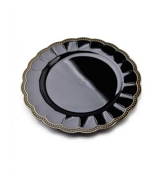 MONDEX BLANCHE COLOURS Podtalerz dekoracyjny 33 cm / czarny z nieregularnym żłobieniem / tworzywo sztuczne