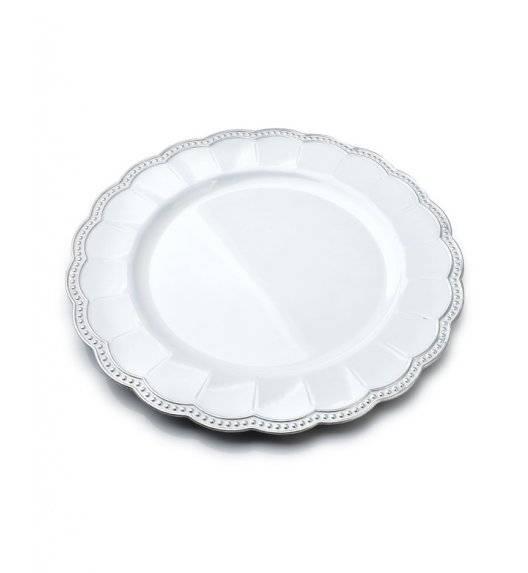 MONDEX BLANCHE COLOURS Podtalerz dekoracyjny 33 cm / biały z nieregularnym żłobieniem / tworzywo sztuczne