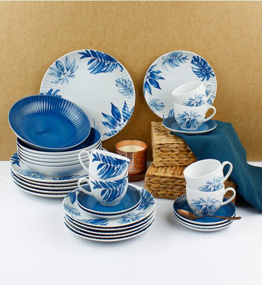 LUBIANA DAISY BLUE Serwis obiadowo - kawowy 18 osób / 90 elementów / Porcelana ręcznie zdobiona