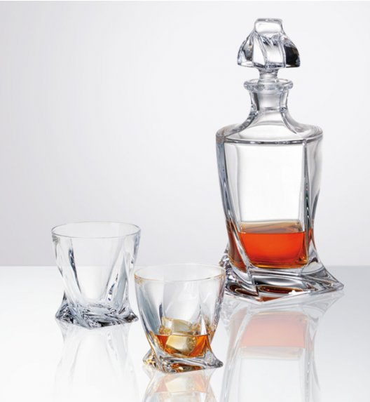 WYPRZEDAŻ! BOHEMIA QUADRO Zestaw do whisky - karafka + 2 szklanki - CR92A500