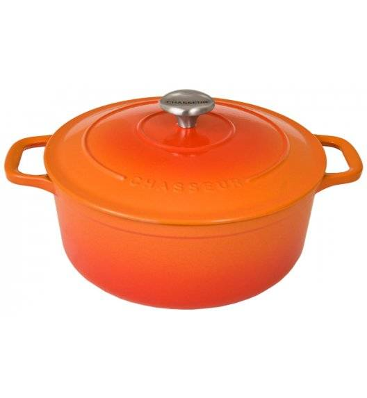 CHASSEUR SUBLIME Garnek okrągły / średnica 28 cm / 6,1 l / pomarańczowy / żeliwo emaliowane, stal