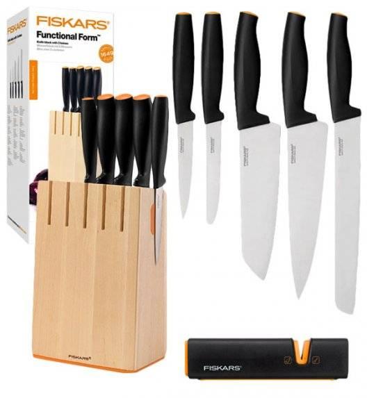 FISKARS FUNCTIONAL FORM 1014211+1003098 Komplet 5 noży kuchennych w drewnianym bloku + OSTRZAŁKA Roll Sharp / stal nierdzewna / rękojeść Softgrip®