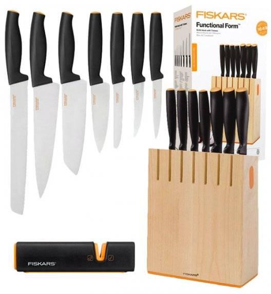 FISKARS FUNCTIONAL FORM 1018781+1003098 Komplet 7 noży kuchennych w bloku drewnianym + OSTRZAŁKA Edge Roll-Sharp / Rękojeść Softgrip®
