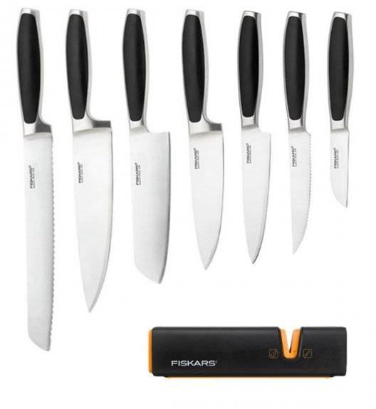 FISKARS ROYAL Komplet 7 noży kuchennych / stal nierdzewna + Ostrzałka Fiskars Edge Roll - Sharp