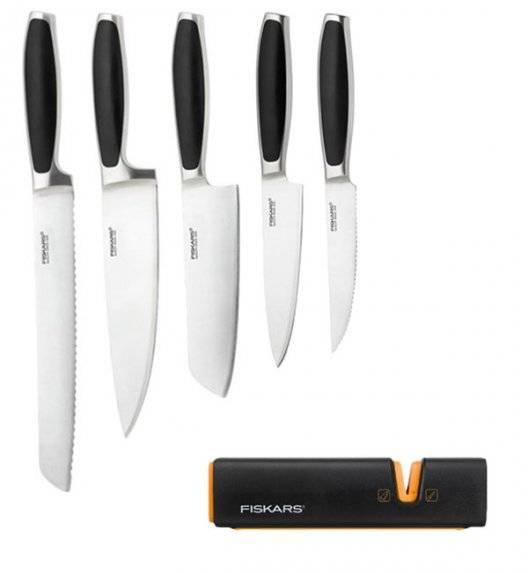 FISKARS ROYAL Komplet 5 noży kuchennych / stal nierdzewna + Ostrzałka Fiskars Edge Roll - Sharp