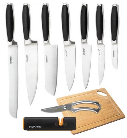 FISKARS ROYAL Komplet 7 noży kuchennych / stal nierdzewna + Ostrzałka Fiskars Edge Roll - Sharp + Deska bambusowa + Nożyce do drobiu