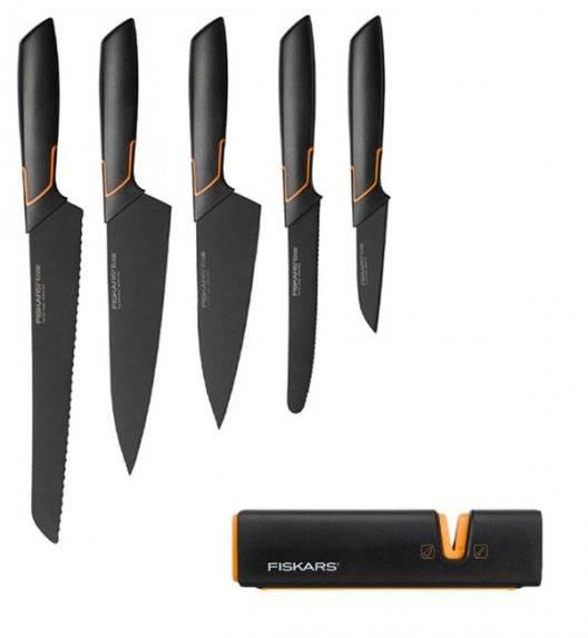 FISKARS EDGE Komplet 5 noży kuchennych + ostrzałka Fiskars Edge / japońska stal nierdzewna