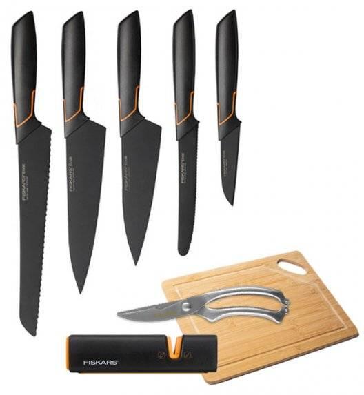 FISKARS EDGE Komplet 5 noży kuchennych + ostrzałka Fiskars Edge + deska bambusowa + nożyce stalowe / japońska stal nierdzewna