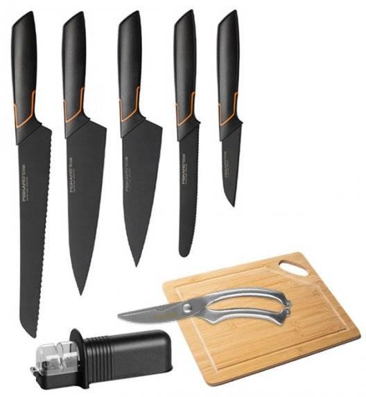 FISKARS EDGE Komplet 5 noży kuchennych + ostrzałka uniwersalna + deska bambusowa + nożyce stalowe / japońska stal nierdzewna