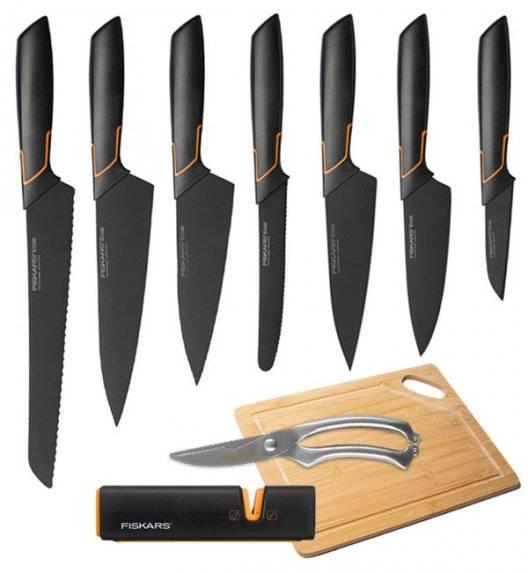 FISKARS EDGE Komplet 7 noży kuchennych + ostrzałka Fiskars Edge + Deska bambusowa + Nożyce stalowe / japońska stal nierdzewna