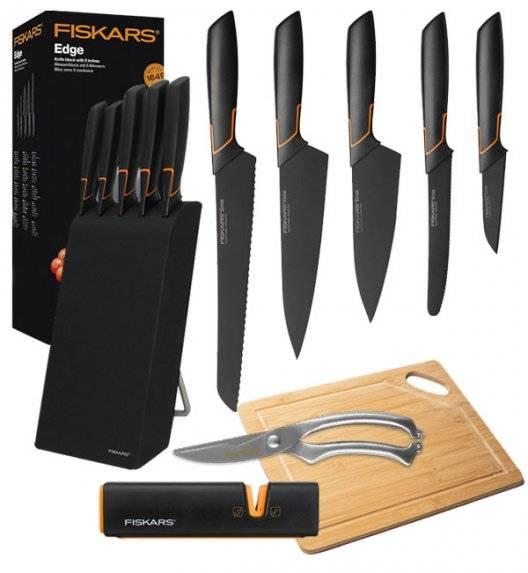 FISKARS EDGE FSEB3 Zestaw 5 noży kuchennych w bloku czarnym / stal 420J2 / czarne ostrza + ostrzałka Fiskars + Deska bambusowa + nożyce całostalowe