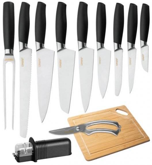 FISKARS FUNCTIONAL FORM+ Komplet 9 noży + ostrzałka uniwersalna + deska bambusowa + nożyce stalowe