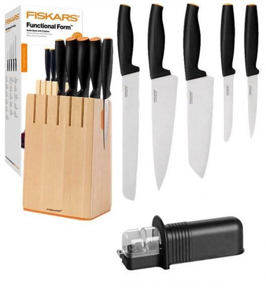 FISKARS FUNCTIONAL FORM Komplet 5 noży kuchennych w drewnianym bloku + ostrzałka uniwersalna / stal nierdzewna / rękojeść Softgrip®