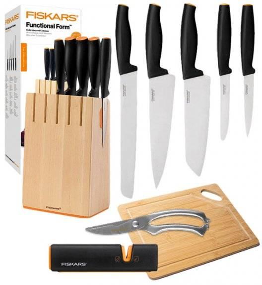 FISKARS FUNCTIONAL FORM Komplet 5 noży kuchennych w drewnianym bloku + ostrzałka Fiskars Edge + deska bambusowa + nożyce stalowe / stal nierdzewna / rękojeść Softgrip®