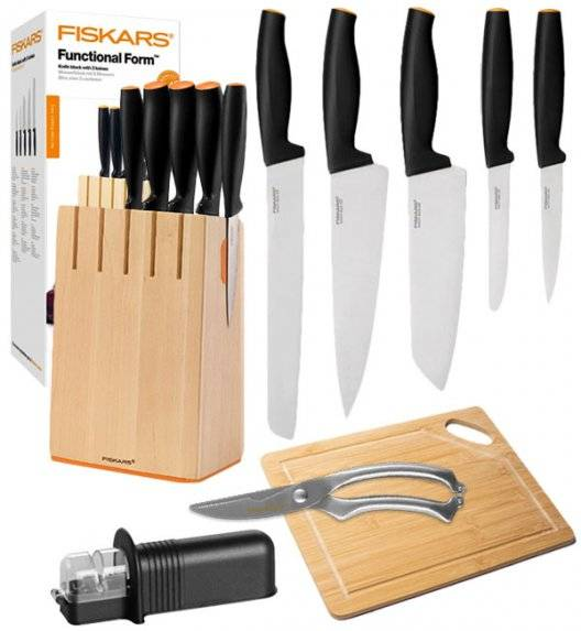 FISKARS FUNCTIONAL FORM Komplet 5 noży kuchennych w drewnianym bloku + ostrzałka uniwersalna + deska bambusowa + nożyce stalowe / stal nierdzewna / rękojeść Softgrip®