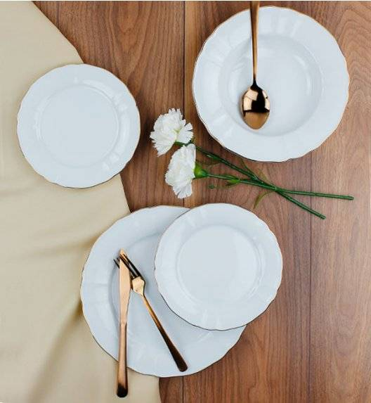 LUBIANA MARIA ZŁOTY PASEK 6026A Serwis obiadowy 18 el / 6 osób / porcelana