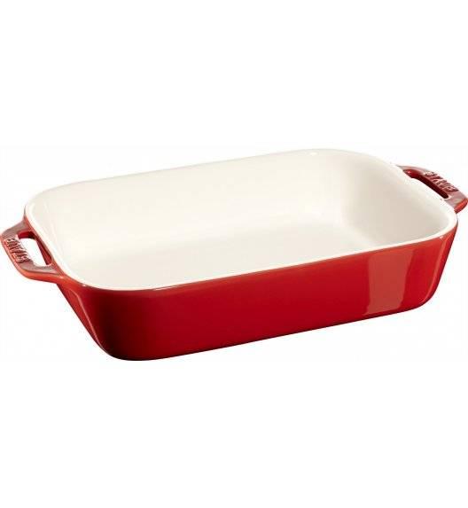 STAUB COOKING Prostokątny półmisek ceramiczny / 2,4 l / 27 x 20 cm / czerwony / ceramika