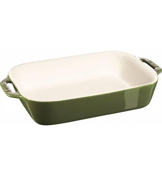STAUB COOKING Prostokątny półmisek ceramiczny / 2,4 l / 27 x 20 cm / zielony / ceramika